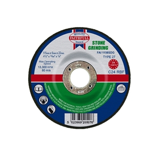 Faithfull Grinding Disc for Stone Depressed Centre 115mm x 6.5mm x 22mm