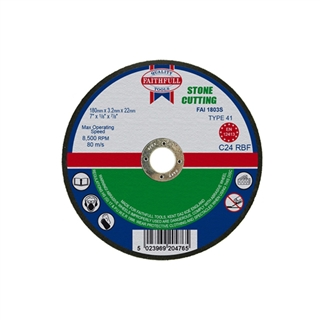 Faithfull Cut Off Disc for Stone 180mm x 3.2mm x 22mm