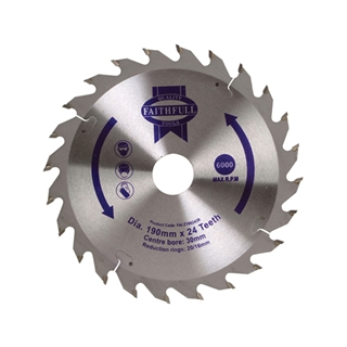 Circular Saw Blade TCT 190mm x 30mm x 24t POS with 16mm and 20mm Bushes