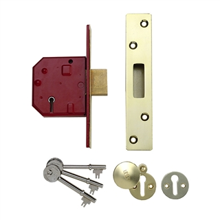"Union Y2134E 2½"" 67mm Mortice Deadlock 5 Lever BS3621 Polished Brass"