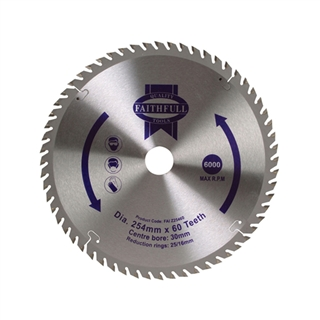 Circular Saw Blade TCT 254mm x 30mm x 60t POS with 16mm and 25mm Bushes