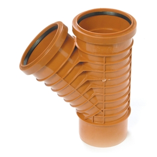 Polypipe Polyrib 110mm 87½° Double Socket Equal Junction UR424