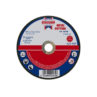 Faithfull Cut Off Disc for Metal 180mm x 3.2mm x 22mm