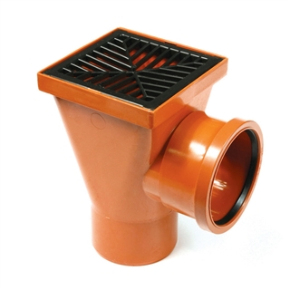 Polypipe Underground Drain 110mm Back Inlet Square Hopper UG414B