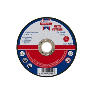 Faithfull Cut Off Disc for Metal 100mm x 3.2mm x 16mm