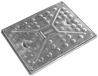 Manhole Cover & Frame Galvanised Double Seal 4Screws 600mm x 450mm 5 Tonne
