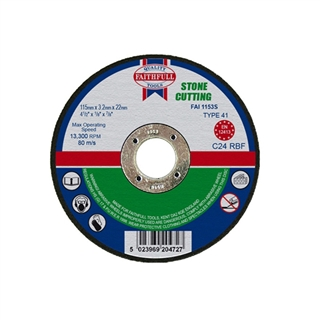 Faithfull Cut Off Disc for Stone 115mm x 3.2mm x 22mm