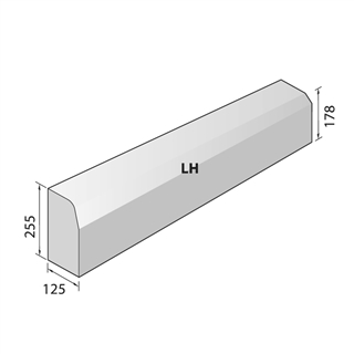 Concrete H-B Chamfered Drop Kerb Left Hand 125 x 255/178mm