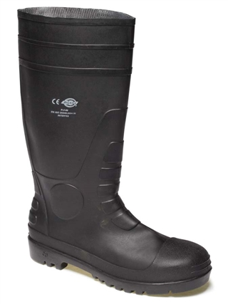 Size 10 Dickies Safety Wellington Boots Black