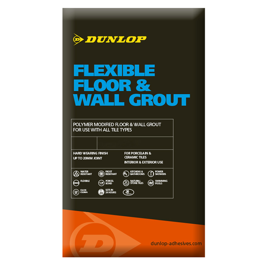 Dunlop flexible floor wall grout grey 10kg dailygadgetfo Gallery