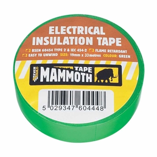 Everbuild Electrical Insulation Tape Green 19mm x 33m