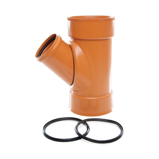 Polypipe Polysewer 150mm 45° Triple Socket Unequal Junction 150mm x 110mm EN1401-1 PS635RS