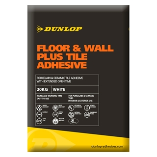 Dunlop Standard Set Plus Floor Wall Tile Adhesive White 20kg
