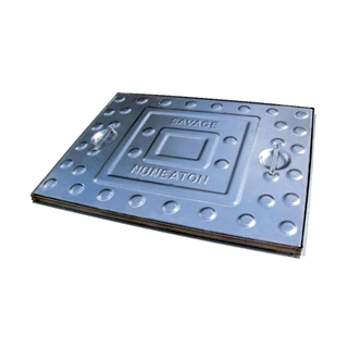 Pedestrian Pressed Steel Single Seal Manhole Cover and Frame 600mm x 450mm x 25mm Depth