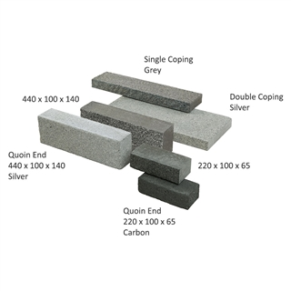 Rio Walling Quoin End 440mm x 100mm x 140mm Silver