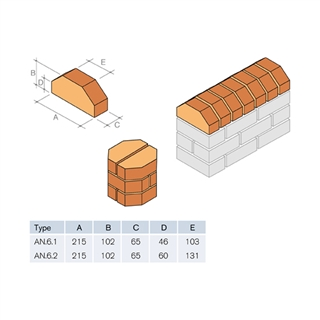 Special Shaped Bricks Smooth Red Double Cant AN.6.2