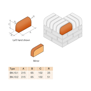 Special Shaped Bricks Smooth Red Bullnose Ext Return On Edge RH BN.10.2