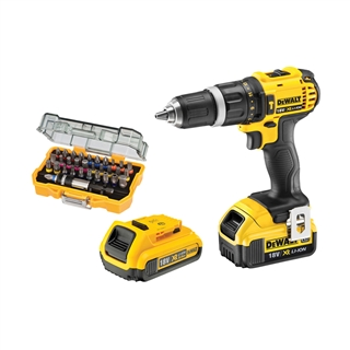 DeWalt 18V Combi Drill with 4Ah and 2Ah Li-Ion Batteries and 32 Piece Bit Set