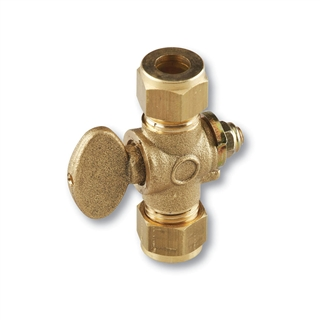 Compression Fitting Gas Cock 15mm Brass