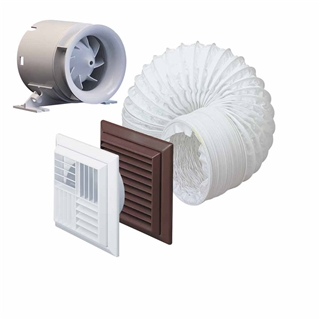 Domus Timer In-Line Duct Fan 100mm with Ceiling Kit
