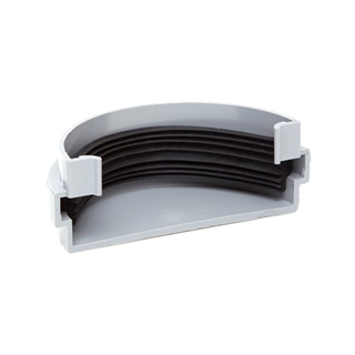 Polypipe Half Round Rainwater 75mm Gutter Stop End External Grey RM307