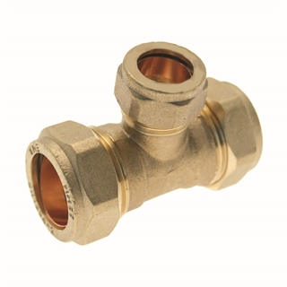 Compression Fitting Reducing Tee 22mm x 15mm x 15mm