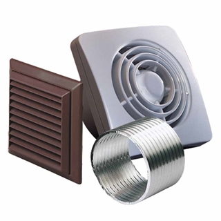 Domus Pull Switch Axial Wall Fan 150mm with Wall Kit