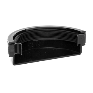 Polypipe Half Round Rainwater 112mm Gutter External Stop End Black RR107