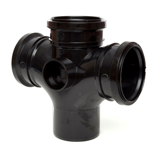 Polypipe Soil & Vent 110mm 92½° Double Branch Black SU420