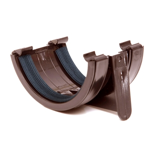 Polypipe Half Round Rainwater 112mm Gutter Union Bracket Brown RR102