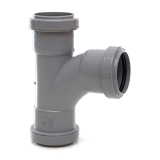 Polypipe Push-Fit Waste 40mm 91¼° Swept Tee Grey WP22