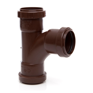 Polypipe Push-Fit Waste 40mm 91¼° Swept Tee Brown WP22