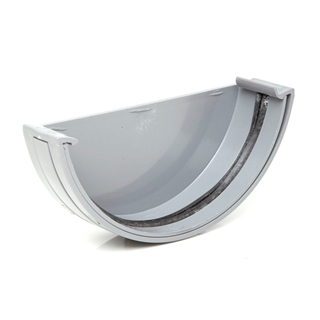 Polypipe Half Round Rainwater 150mm Gutter External Stop End Grey RL607