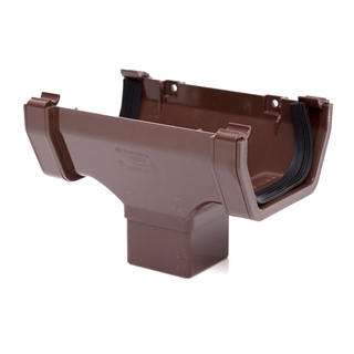 Polypipe Square Rainwater 112mm Gutter Running Outlet Brown RS205