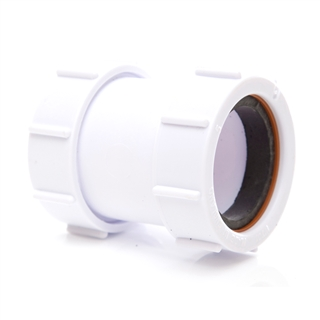 Polypipe Universal Compression Waste 40mm Straight Connector White PS40