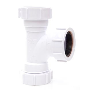 Polypipe Universal Compression Waste 32mm 91¼° Equal Tee White PS21