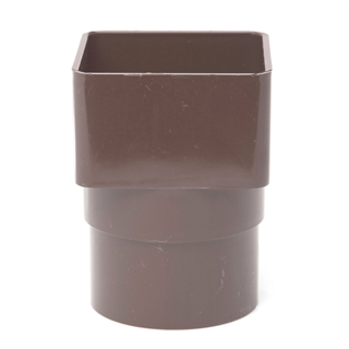 Polypipe Square Rainwater 65mm Square to Round Adapter Brown RS231
