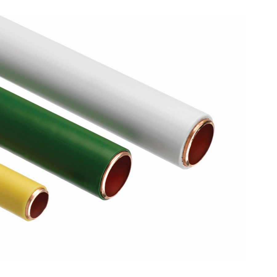 Pvc coated copper tube tx kitemarked in 3m lengths 15mm for Copper pipe to plastic pipe