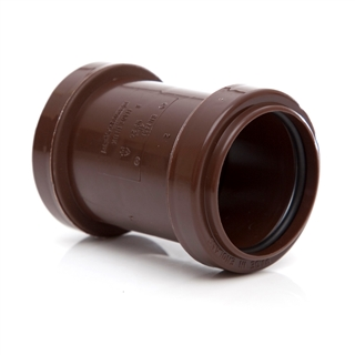 Polypipe Push-Fit Waste 40mm Straight Coupling Brown WP26