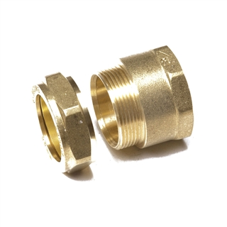 "Compression Fitting DZR FI x C Straight Connector 1"" x 15mm"