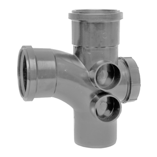 Polypipe Soil & Vent 110mm 92½° Access Branch Grey ST410
