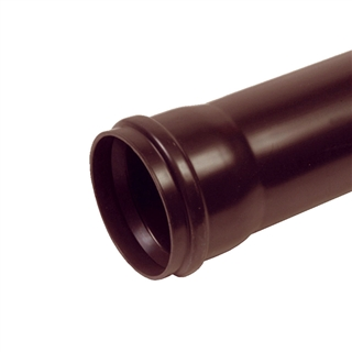 Polypipe Soil & Vent 110mm 3m Single Socket Pipe Brown SP430