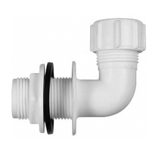 Polypipe Overflow 21.5mm Push-fit Bent Tank Connector White VP50