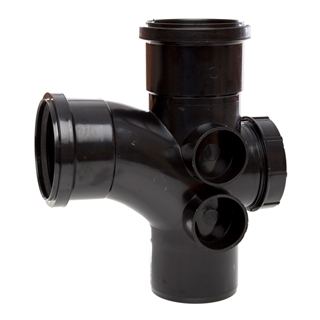 Polypipe Soil & Vent 110mm 92½° Access Branch Black ST410