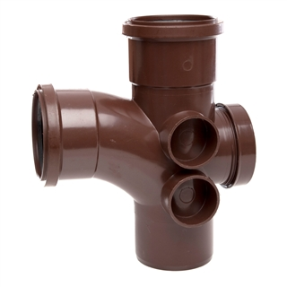 Polypipe Soil & Vent 110mm 92½° Access Branch Brown ST410