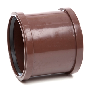 Polypipe Soil & Vent 110mm Double Socket Brown SH44