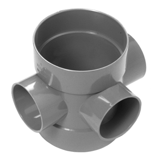 Polypipe Soil & Vent 110mm Double Socket Short Boss Pipe Grey SE60