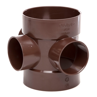 Polypipe Soil & Vent 110mm Double Solvent Socket Short Boss Pipe Brown SE60