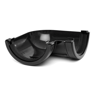 Polypipe Half Round Rainwater 112mm Gutter Angle 90° Black RR103