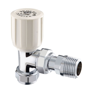 15mm Terrier Angled Wheelhead Radiator Valve Chrome